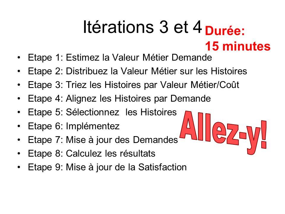Itérations 3 et 4 Allez-y! Durée: 15 minutes
