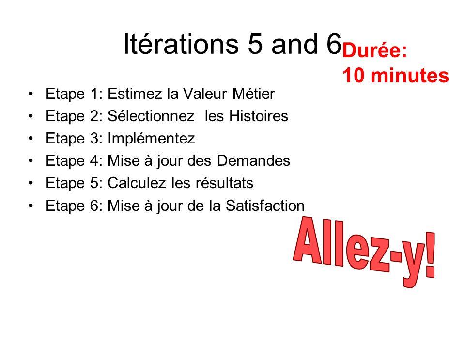 Itérations 5 and 6 Allez-y! Durée: 10 minutes