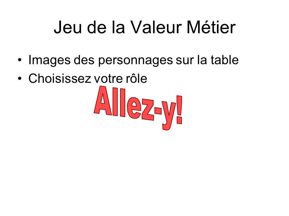 Jeu de la Valeur Métier Allez-y! Images des personnages sur la table