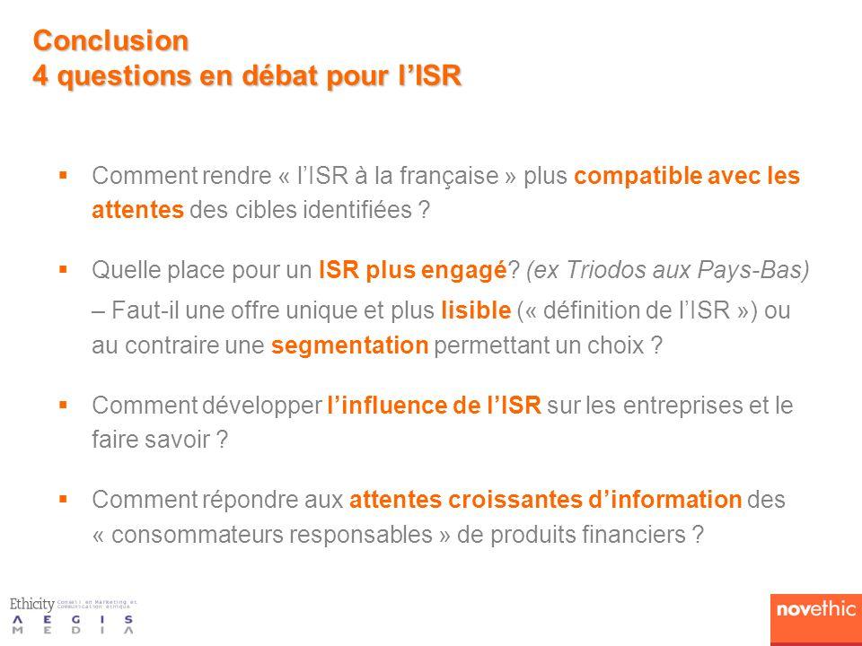 Conclusion 4 questions en débat pour l'ISR