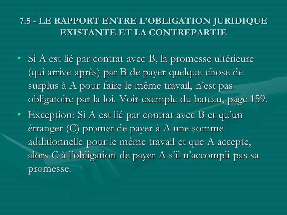 7.5 - LE RAPPORT ENTRE L'OBLIGATION JURIDIQUE EXISTANTE ET LA CONTREPARTIE