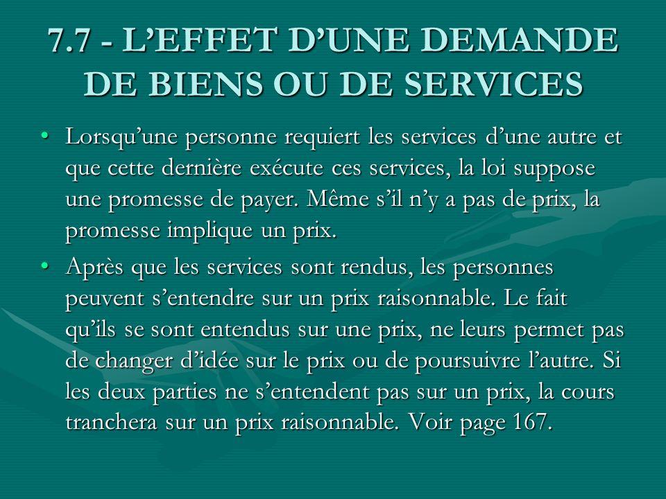 7.7 - L'EFFET D'UNE DEMANDE DE BIENS OU DE SERVICES