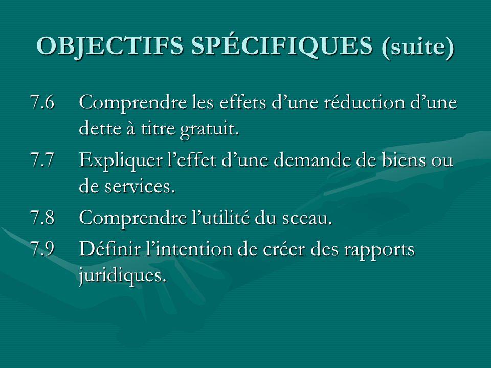 OBJECTIFS SPÉCIFIQUES (suite)