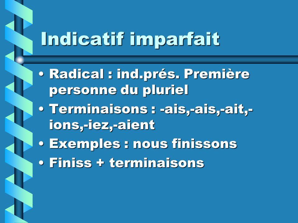 Indicatif imparfait Radical : ind.prés. Première personne du pluriel