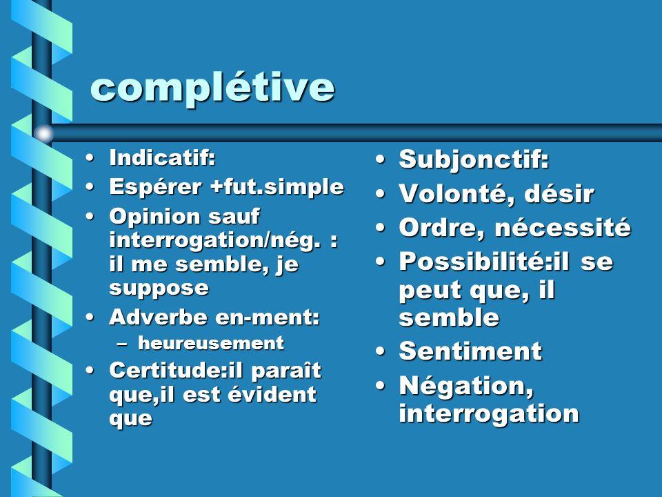 complétive Subjonctif: Volonté, désir Ordre, nécessité