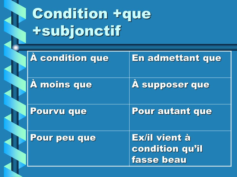 Condition +que +subjonctif