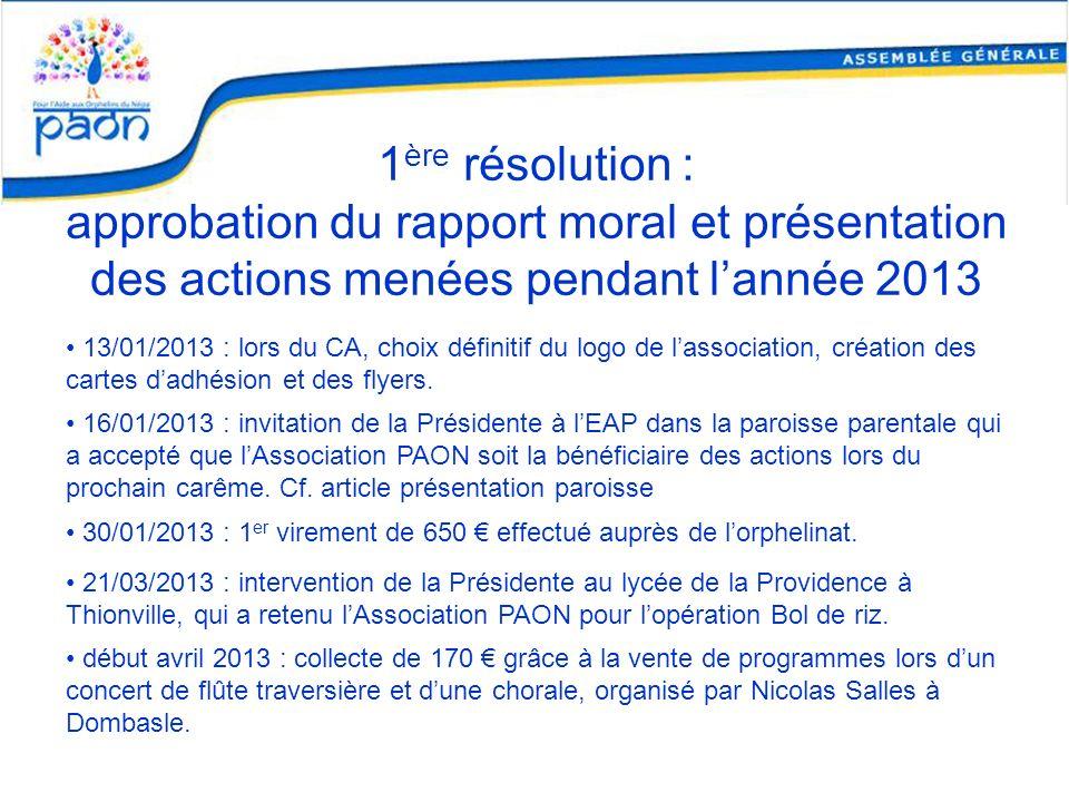 1ère résolution : approbation du rapport moral et présentation des actions menées pendant l'année 2013