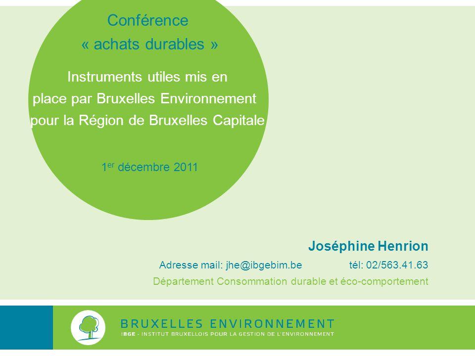 Conférence « achats durables » Instruments utiles mis en
