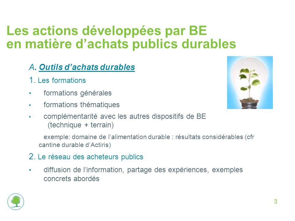 Les actions développées par BE en matière d'achats publics durables