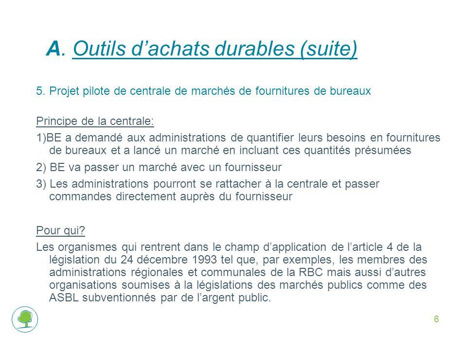A. Outils d'achats durables (suite)
