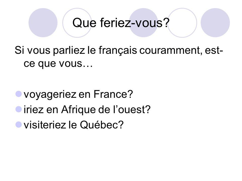 Que feriez-vous Si vous parliez le français couramment, est-ce que vous… voyageriez en France iriez en Afrique de l'ouest