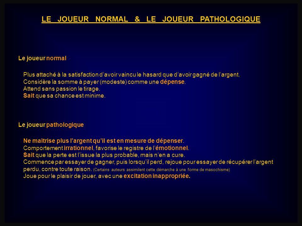 LE JOUEUR NORMAL & LE JOUEUR PATHOLOGIQUE