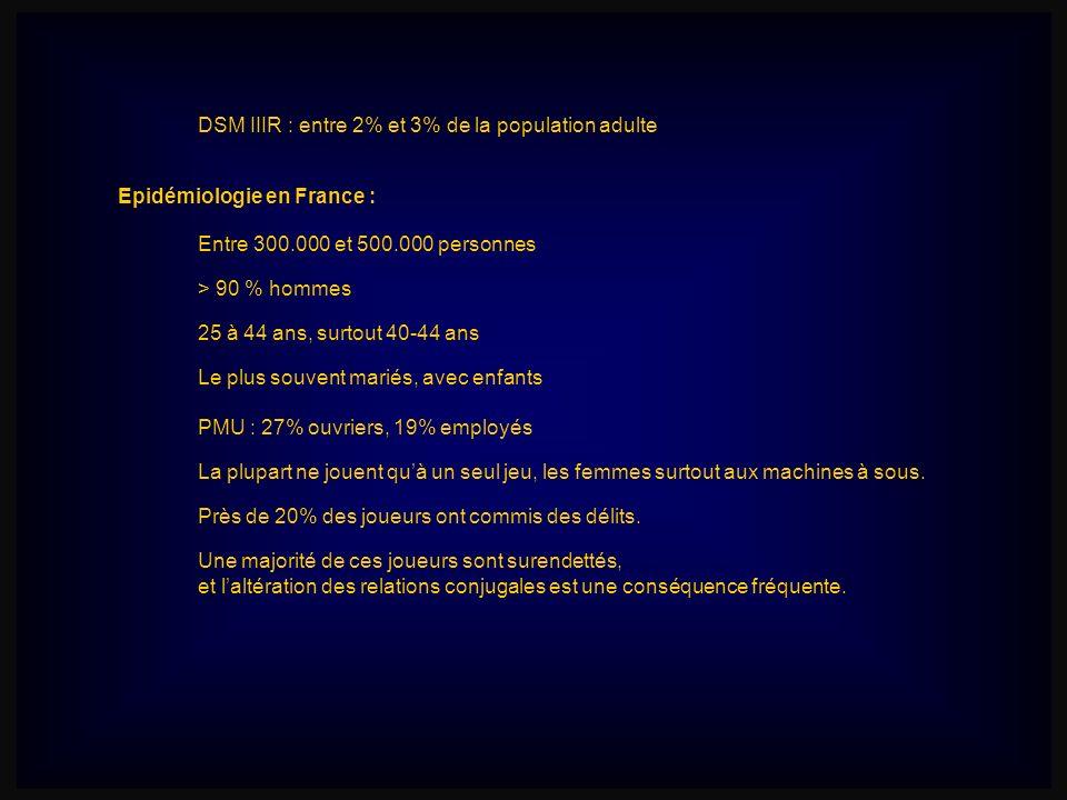 DSM IIIR : entre 2% et 3% de la population adulte