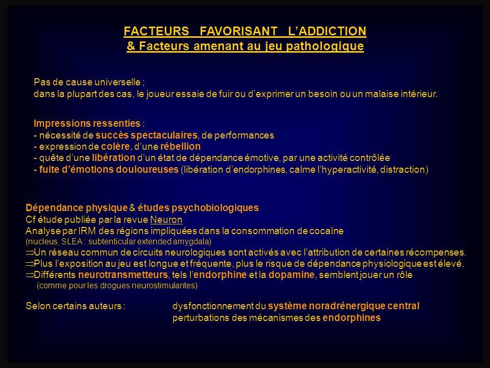 FACTEURS FAVORISANT L'ADDICTION & Facteurs amenant au jeu pathologique