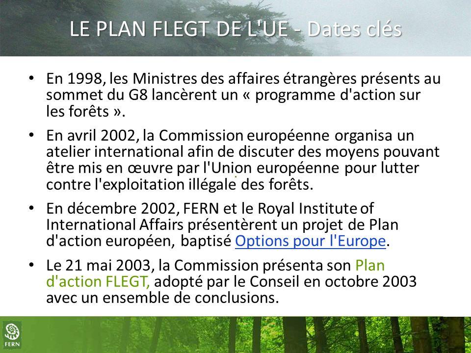 LE PLAN FLEGT DE L UE - Dates clés