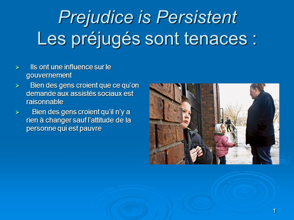 Prejudice is Persistent Les préjugés sont tenaces :