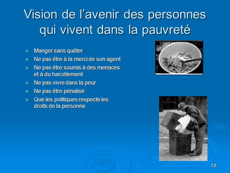 Vision de l'avenir des personnes qui vivent dans la pauvreté