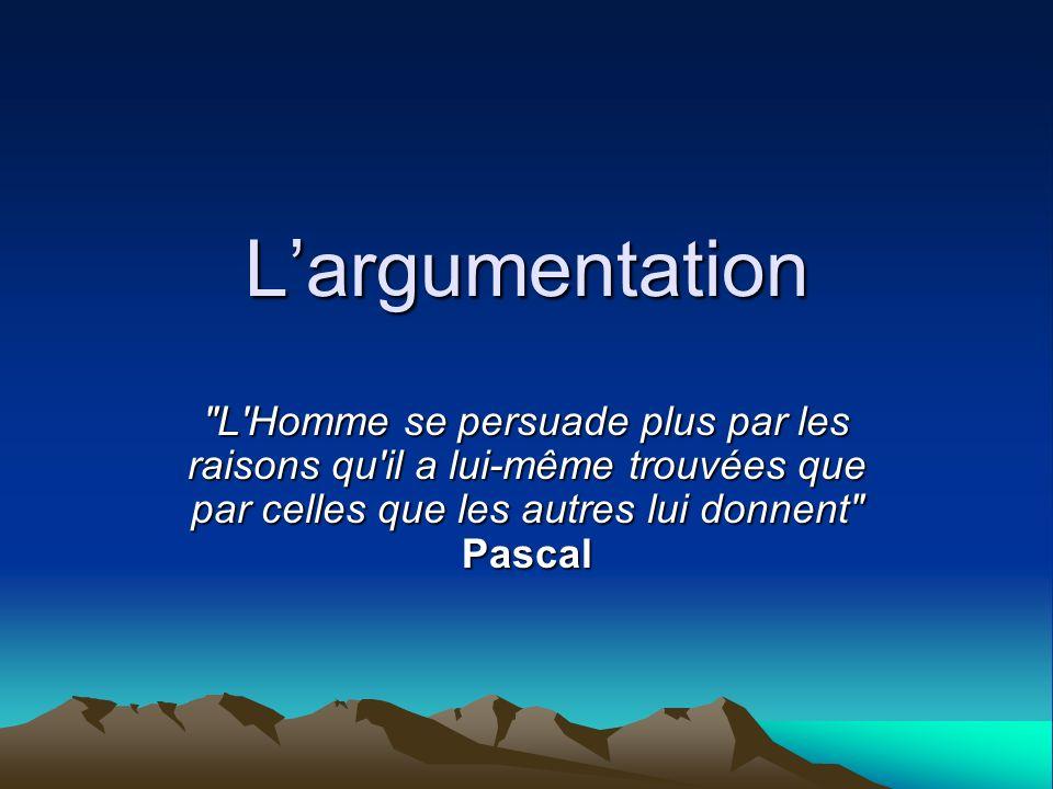 L'argumentation L Homme se persuade plus par les raisons qu il a lui-même trouvées que par celles que les autres lui donnent Pascal.