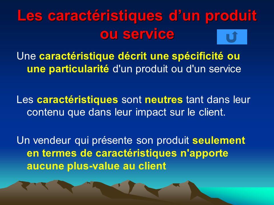 Les caractéristiques d'un produit ou service