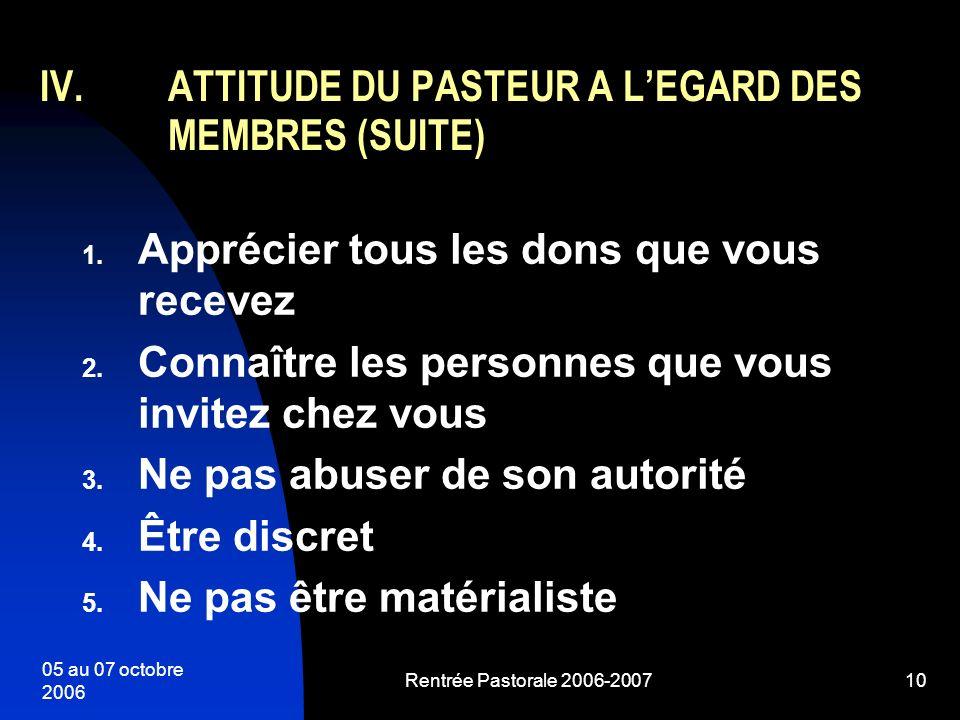 ATTITUDE DU PASTEUR A L'EGARD DES MEMBRES (SUITE)