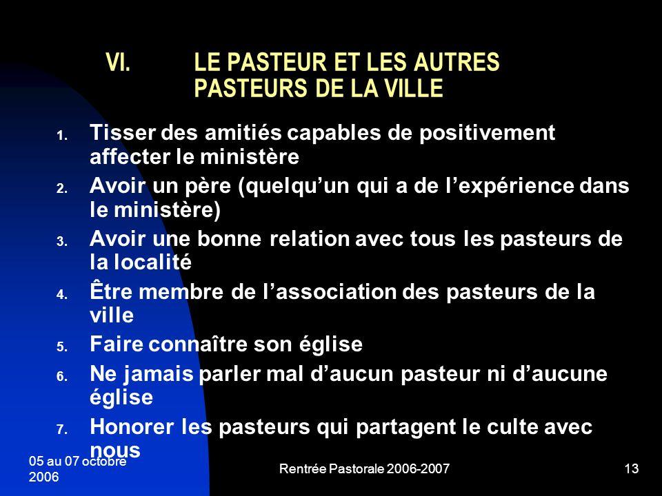 LE PASTEUR ET LES AUTRES PASTEURS DE LA VILLE