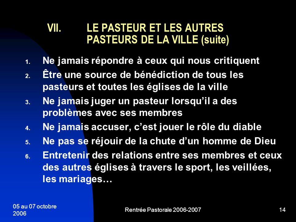 LE PASTEUR ET LES AUTRES PASTEURS DE LA VILLE (suite)
