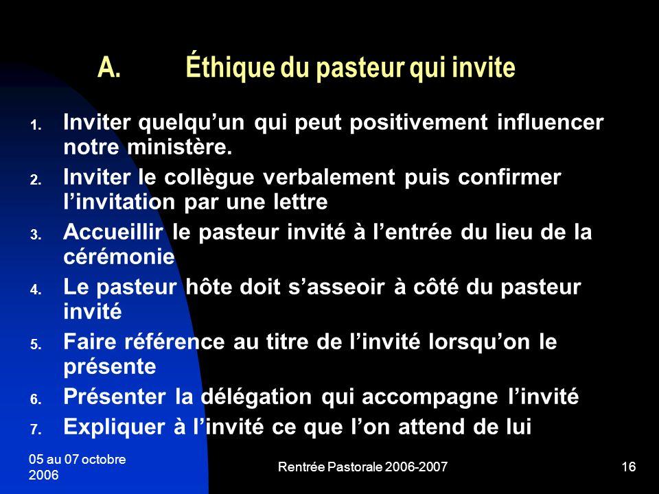 Éthique du pasteur qui invite