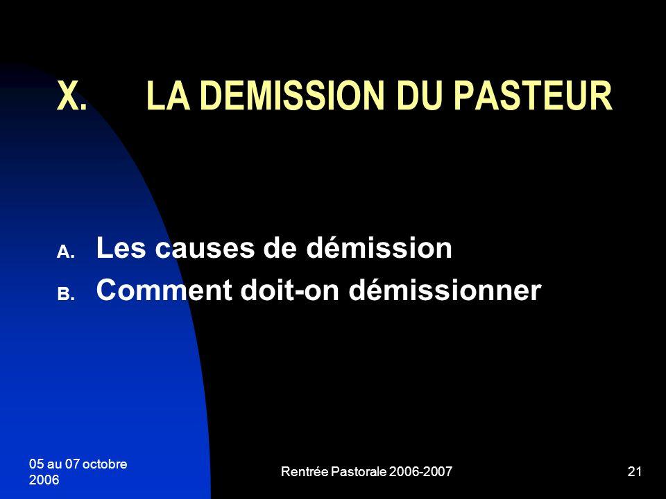 LA DEMISSION DU PASTEUR