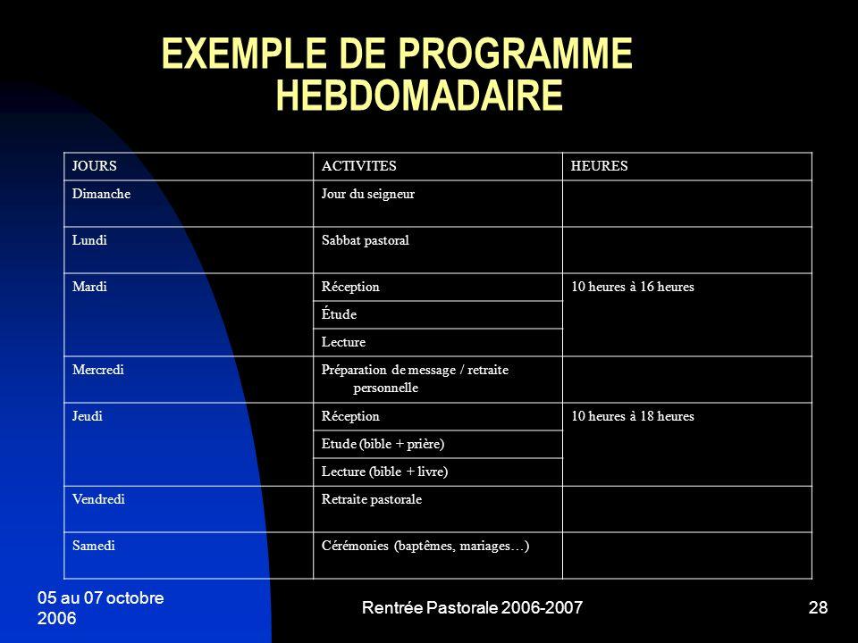 EXEMPLE DE PROGRAMME HEBDOMADAIRE