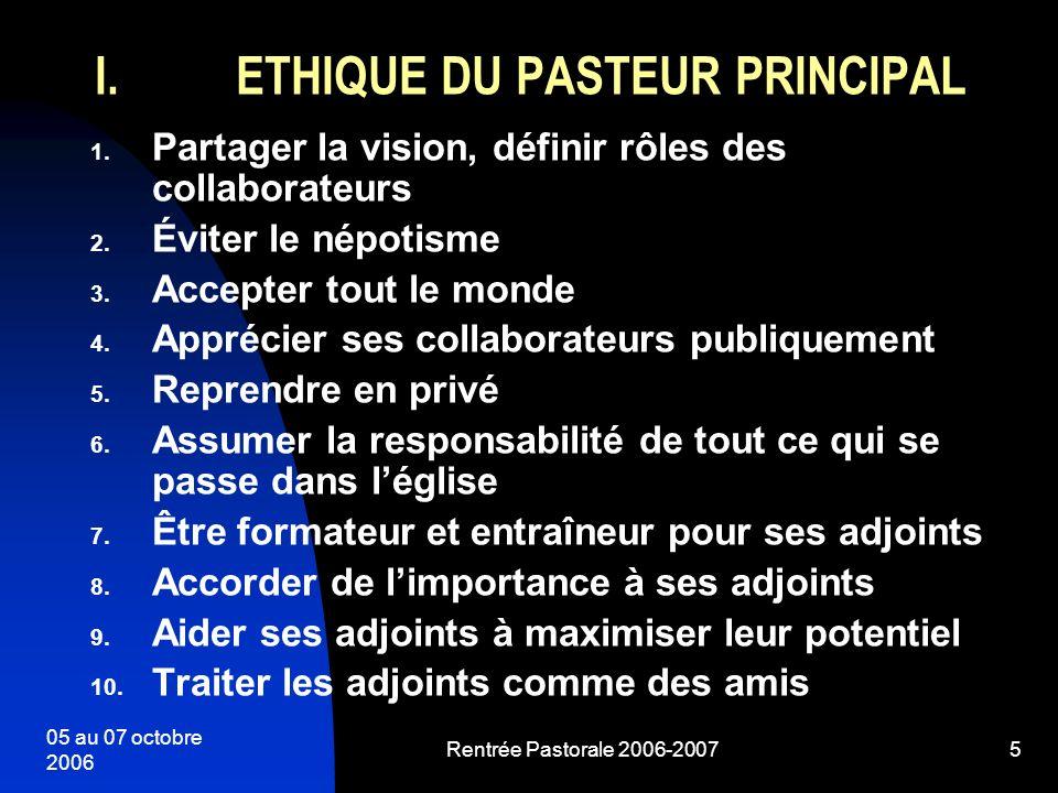 ETHIQUE DU PASTEUR PRINCIPAL