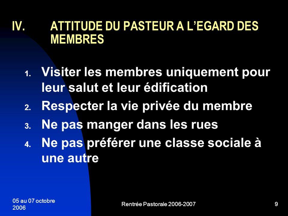 ATTITUDE DU PASTEUR A L'EGARD DES MEMBRES