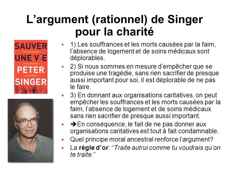 L'argument (rationnel) de Singer pour la charité