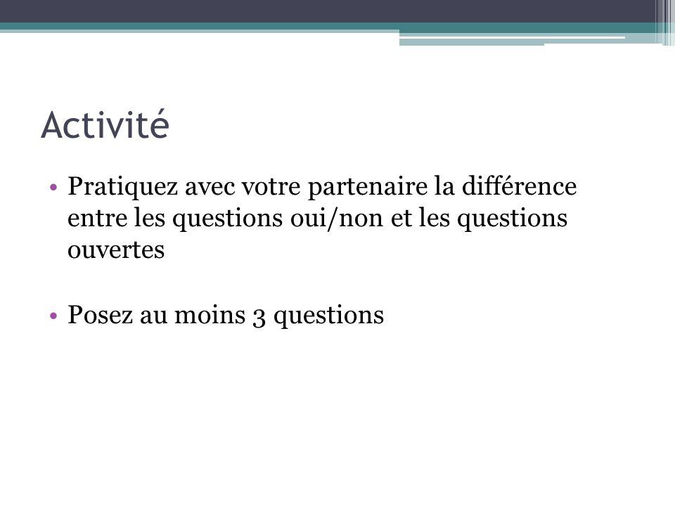 Activité Pratiquez avec votre partenaire la différence entre les questions oui/non et les questions ouvertes.