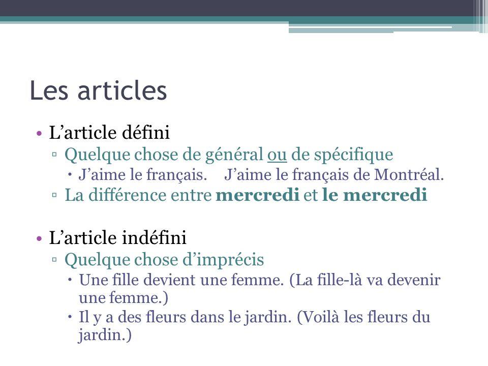 Les articles L'article défini L'article indéfini