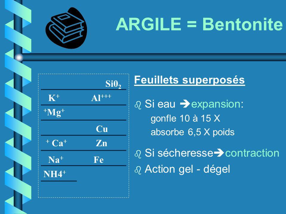 ARGILE = Bentonite Feuillets superposés. Si eau expansion: gonfle 10 à 15 X. absorbe 6,5 X poids.