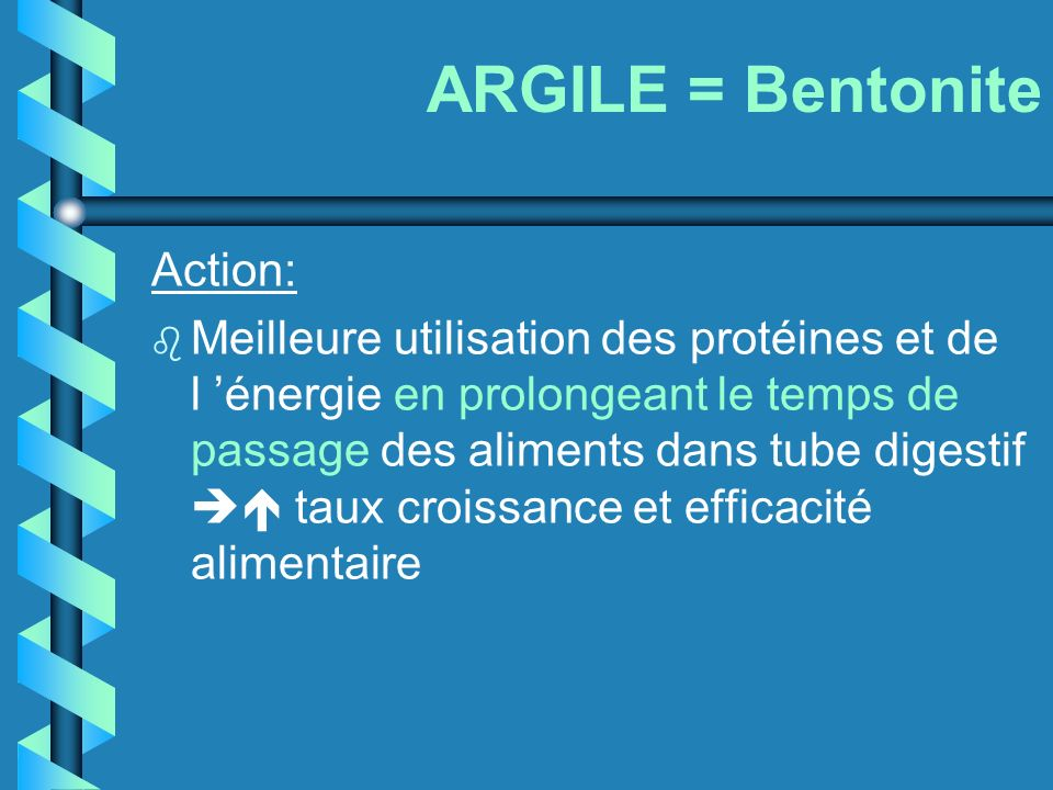 ARGILE = Bentonite Action: