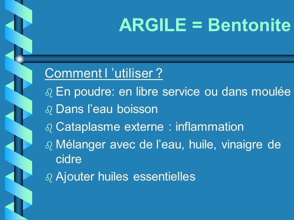 ARGILE = Bentonite Comment l 'utiliser