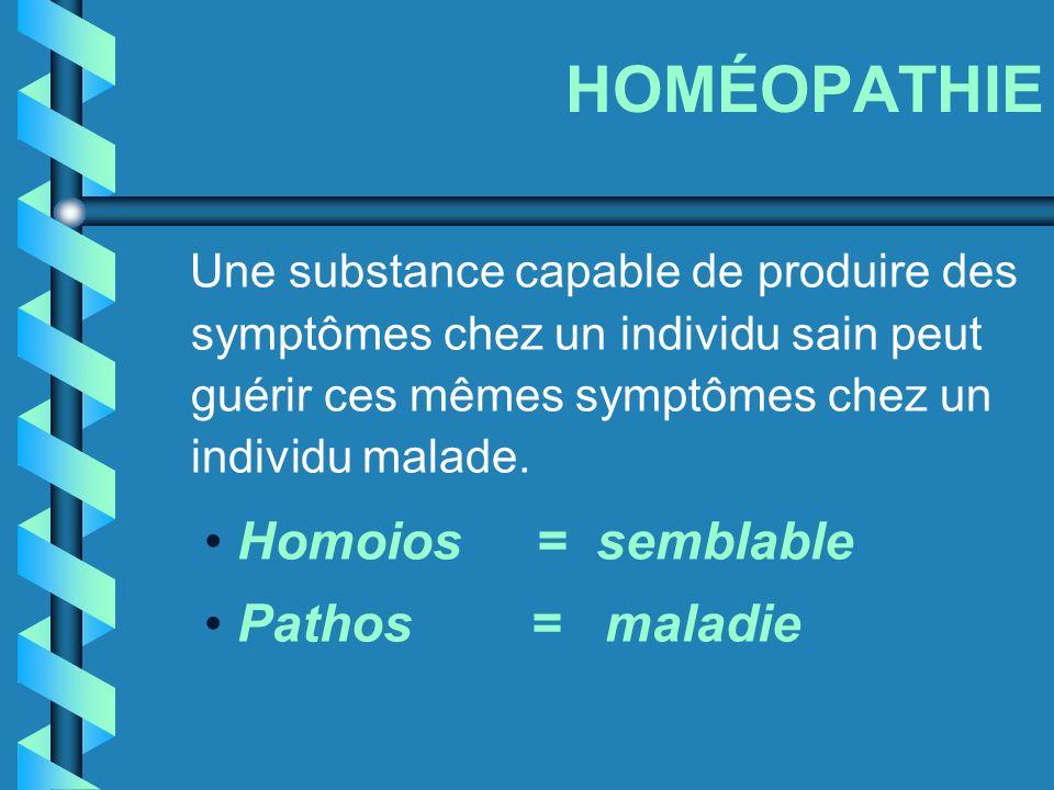 HOMÉOPATHIE Homoios = semblable Pathos = maladie