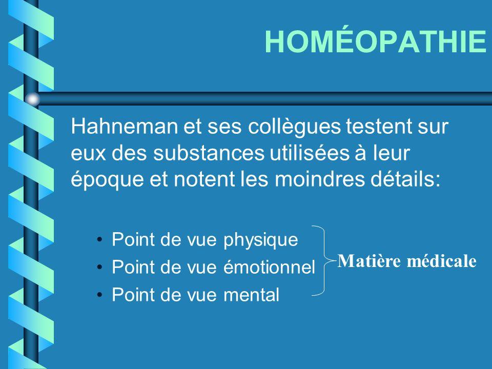 HOMÉOPATHIE Hahneman et ses collègues testent sur eux des substances utilisées à leur époque et notent les moindres détails: