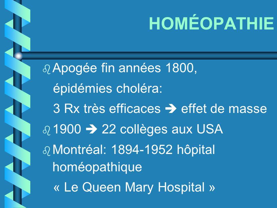 HOMÉOPATHIE Apogée fin années 1800, épidémies choléra: