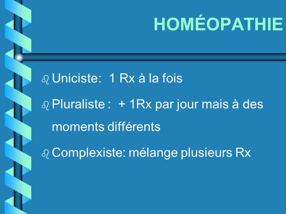 HOMÉOPATHIE Uniciste : 1 Rx à la fois