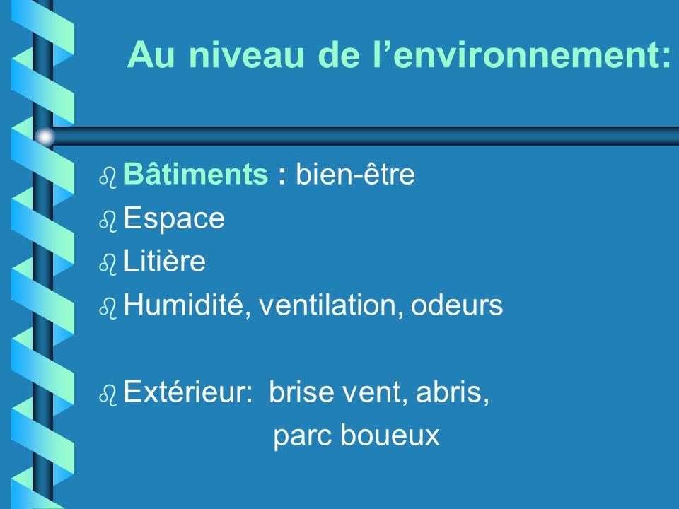 Au niveau de l'environnement: