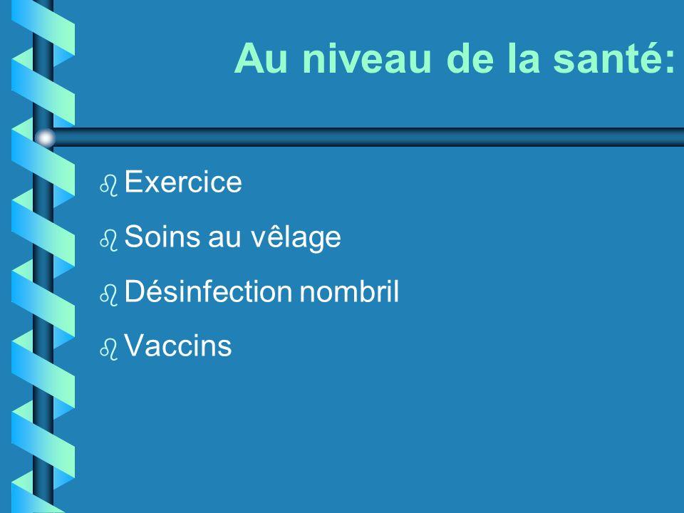 Au niveau de la santé: Exercice Soins au vêlage Désinfection nombril