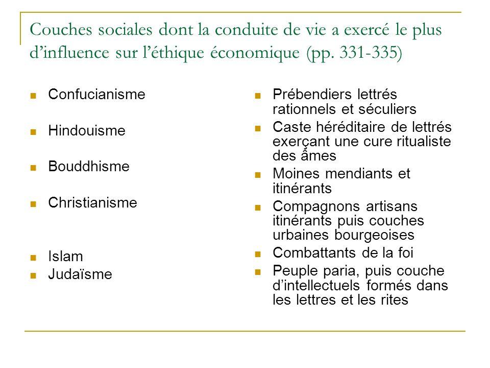 Couches sociales dont la conduite de vie a exercé le plus d'influence sur l'éthique économique (pp. 331-335)