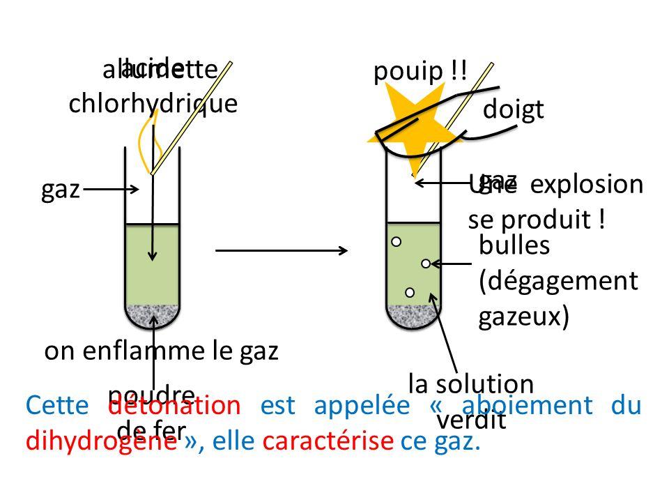 on enflamme le gaz Une explosion se produit ! pouip !! gaz. allumette. poudre de fer. acide. chlorhydrique.