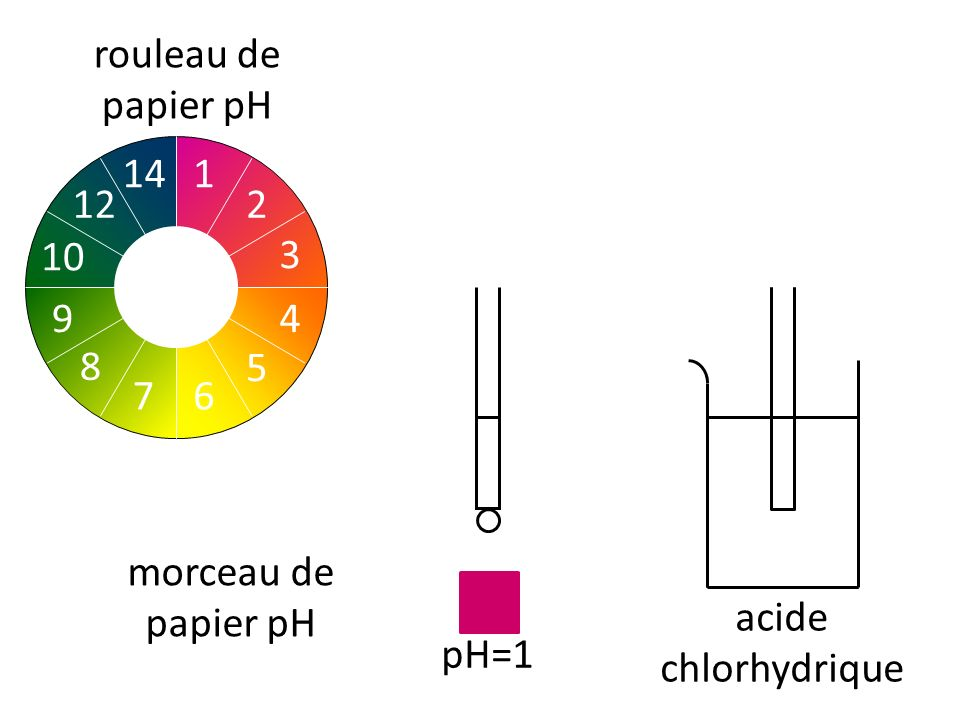 rouleau de papier pH 2 1 3 4 5 7 6 8 10 9 14 12 morceau de papier pH acide chlorhydrique pH=1