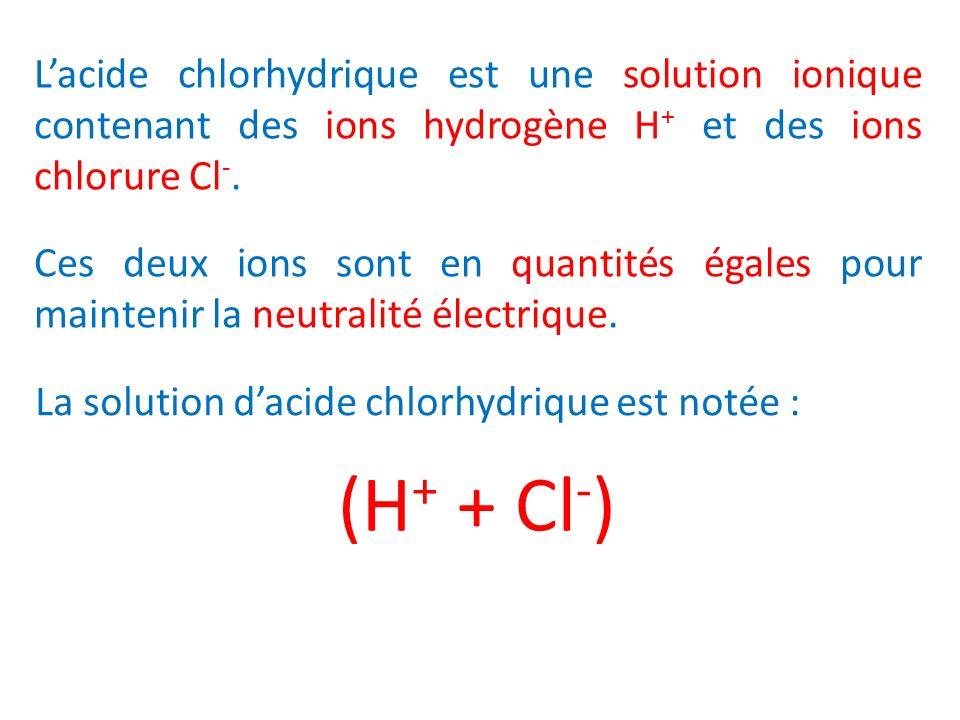 L'acide chlorhydrique est une solution ionique contenant des ions hydrogène H+ et des ions chlorure Cl-.