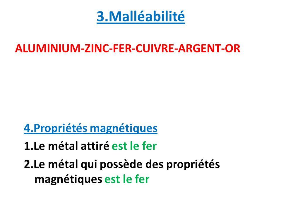 3.Malléabilité ALUMINIUM-ZINC-FER-CUIVRE-ARGENT-OR
