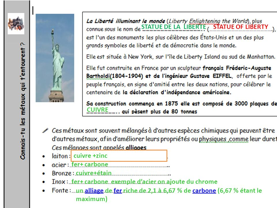 STATUE DE LA LIBERTE STATUE OF LIBERTY. CUIVRE. cuivre +zinc. fer+ carbone. cuivre+étain. fer+ carbone exemple d'acier on ajoute du chrome.