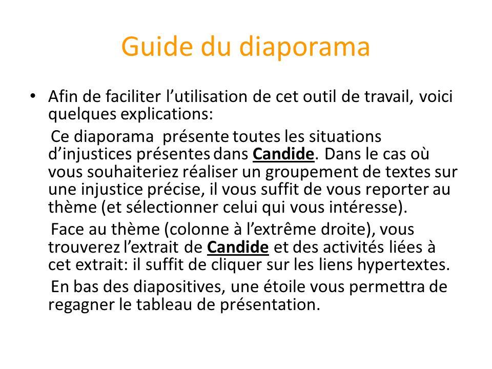 Guide du diaporama Afin de faciliter l'utilisation de cet outil de travail, voici quelques explications:
